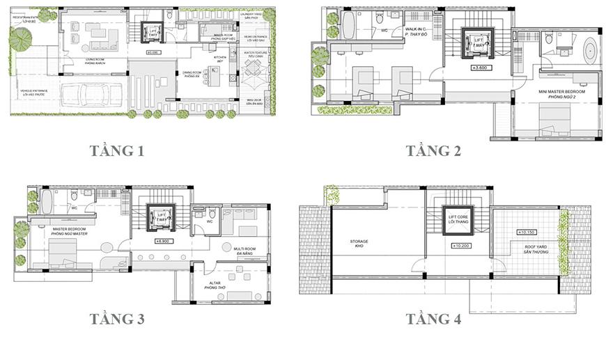 Mặt bằng thiết kế từng tầng trong căn biệt thự An Vượng