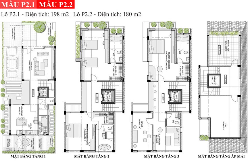 Mẫu mặt bằng thiết kế biệt thự An Vượng P2.1 và P2.2